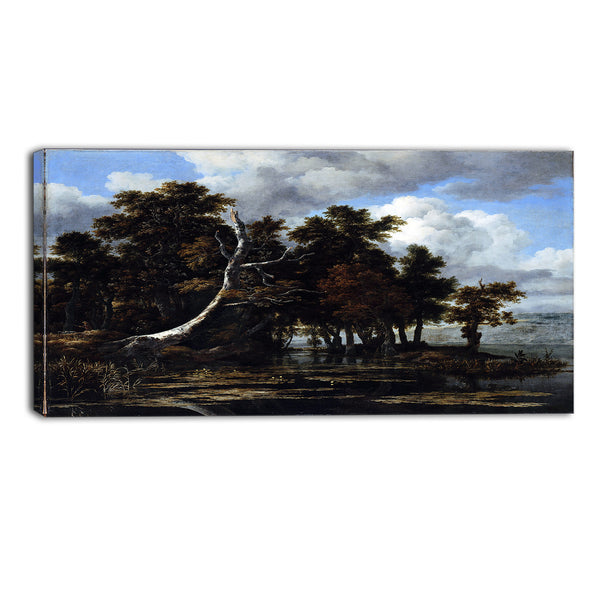 MasterPiece Painting - Ruisdael Oaks at a lake with Water Lilies