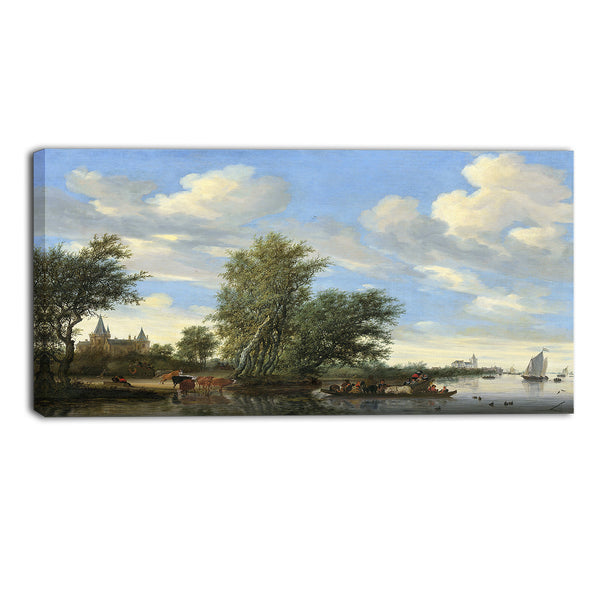 MasterPiece Painting - Salomon van Ruysdael River Landscape with Ferry