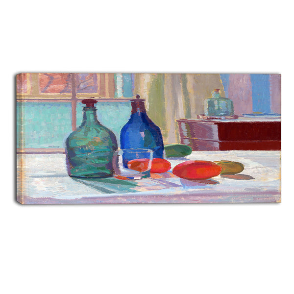 MasterPiece Painting - Spencer Frederick Blue and Green Bottles and Oranges
