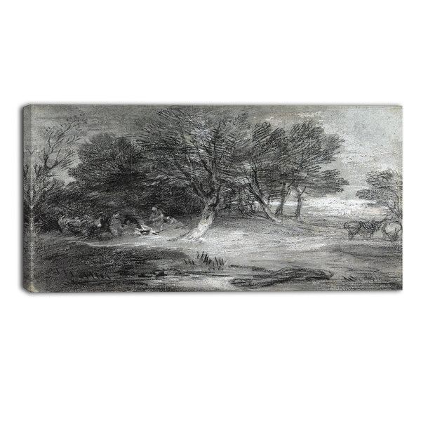 MasterPiece Painting - Thomas Gainsborouh Wooded Landscape with Gypsy Encampment
