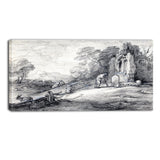 MasterPiece Painting - Thomas Gainsborouh Wooded Landscape with Peasant Reading
