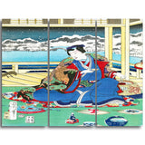 MasterPiece Painting - Toyohara Kunichika Genji Viewing Snow From a Balcony
