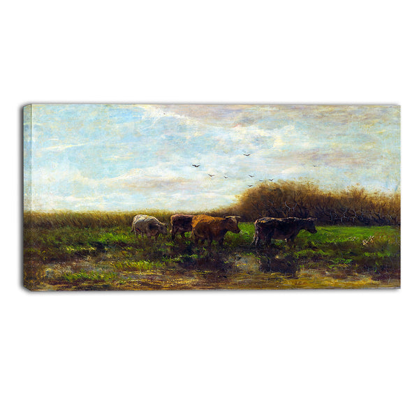MasterPiece Painting - Willem Maris Cows at Evening