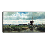 MasterPiece Painting - Willem Roelofs Polder landscape with windmill near Abcoude