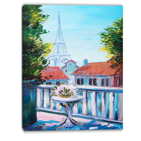 eiffel tower long view landscape canvas art print PT6001