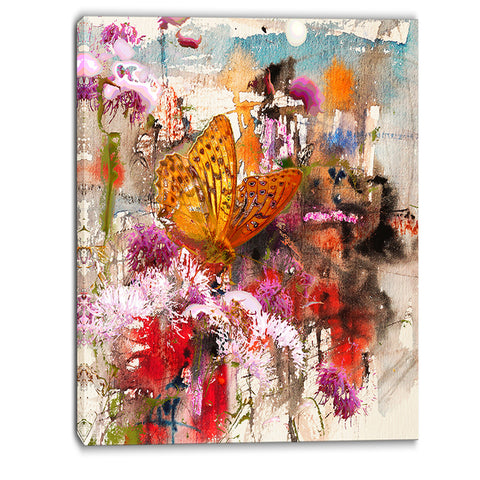 butterfly drinking honey floral canvas art print PT6008