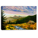 sunset in mountains landscape canvas wall art print PT6010