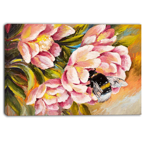 bee sitting on flower floral canvas artwork PT6020