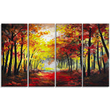 walk through autumn forest landscape canvas artwork PT6021