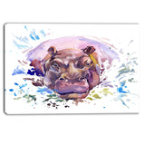 hippopotamus watercolor animal canvas artwork PT6032