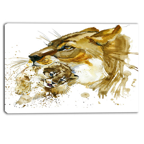lioness and cub illustration animal canvas artwork PT6056