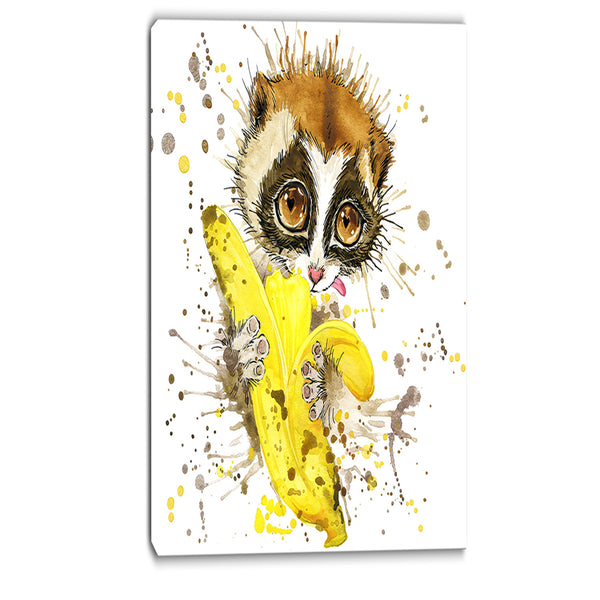 lemur eating banana graphics art animal canvas print PT6061