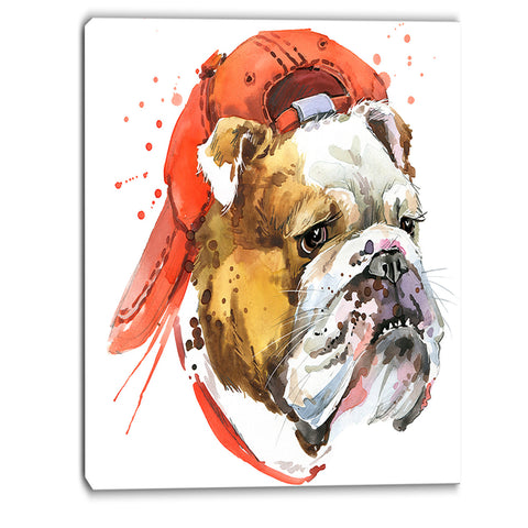 bulldog illustration art animal canvas artwork PT6062