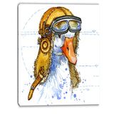 funny goose aviator hat animal canvas artwork PT6063