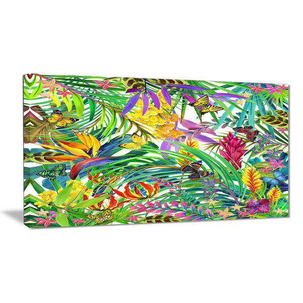 tropical leaves and flowers floral canvas artwork PT6075