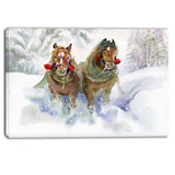 horses running in winter animal canvas print PT6076