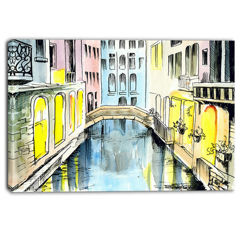 canal in venice cityscape canvas artwork PT6077