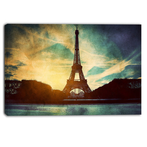 eiffel tower retro style cityscape canvas wall art print PT6079