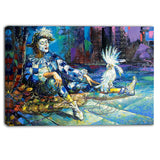 the harlequin and white parrot contemporary canvas print PT6080