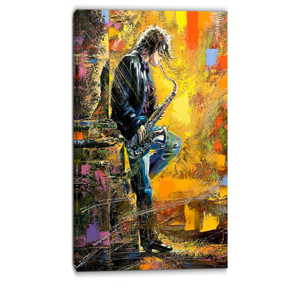 man with saxophone contemporary canvas artwork PT6081