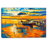 boat and jetty at sunset landscape canvas artwork PT6084