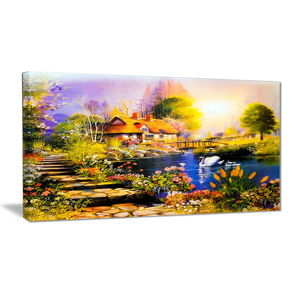 house near the lake swans landscape canvas artwork PT6086
