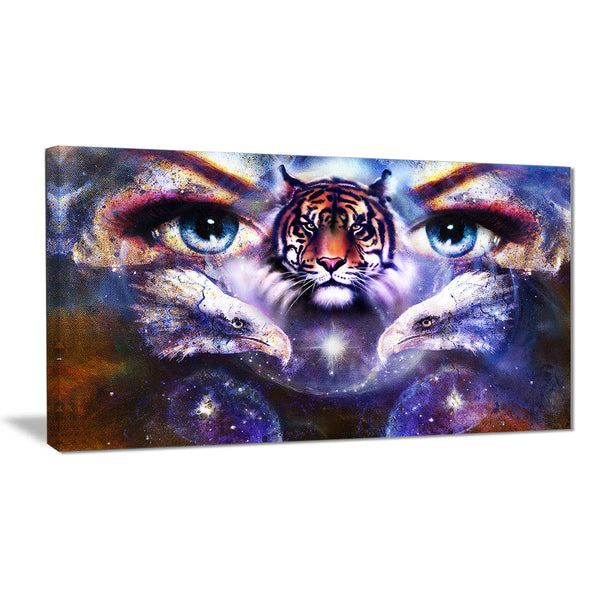 tiger, eagles and woman eyes collage animal canvas print PT6087