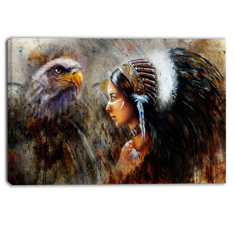 indian woman with feather headdress indian canvas artwork PT6088