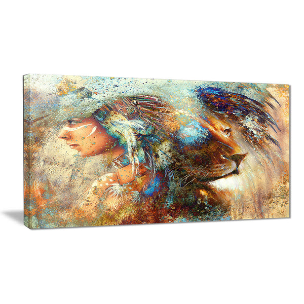 indian woman collage with lion indian canvas artwork PT6090