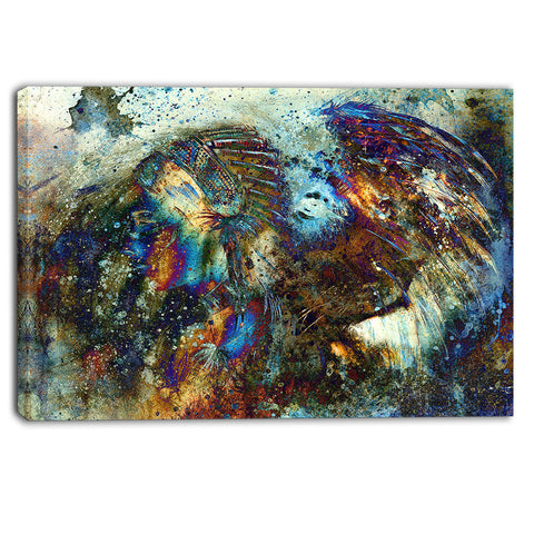 indian woman collage with lion woman canvas print PT6095