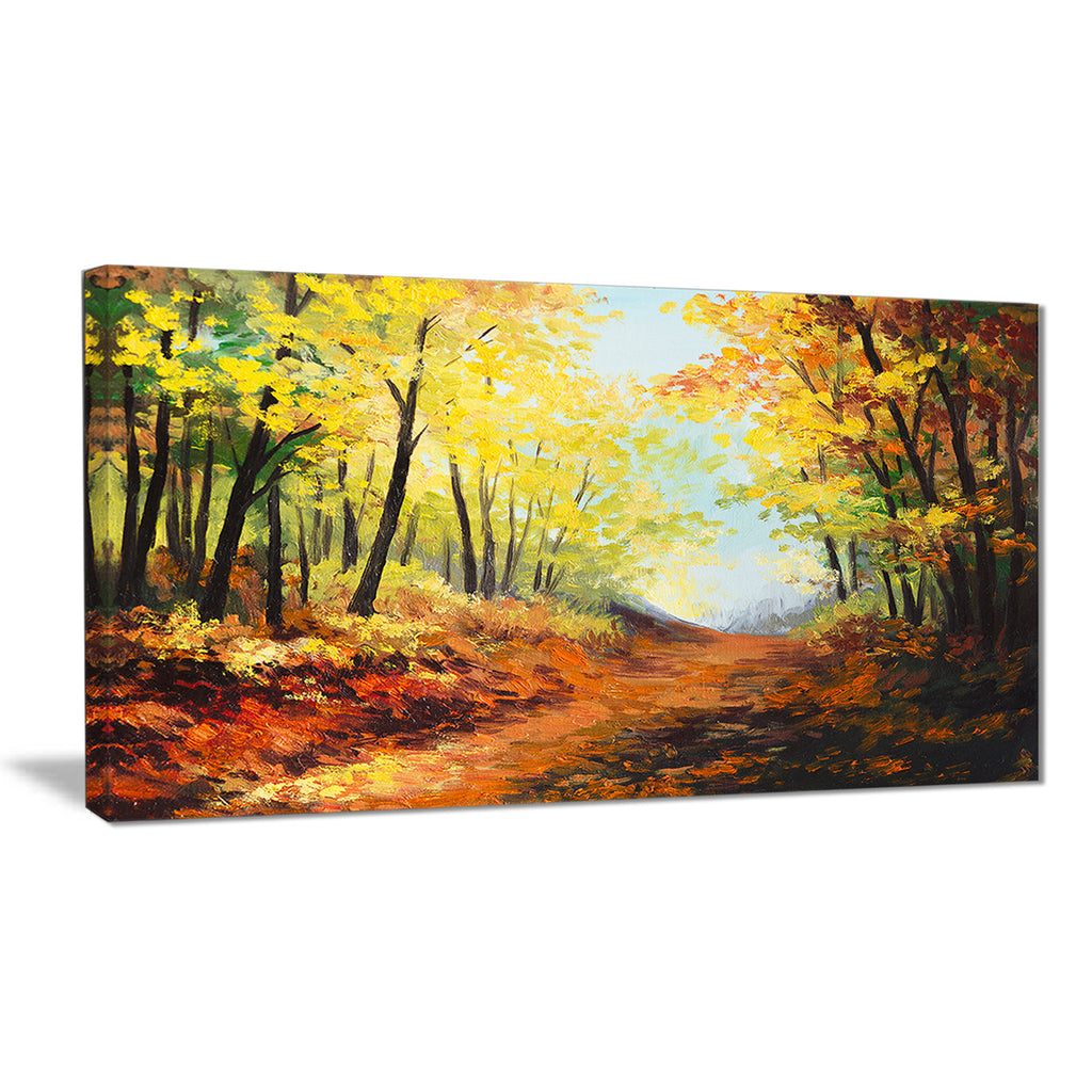 autumn forest pathway landscape canvas wall art print PT6101 – fabuart