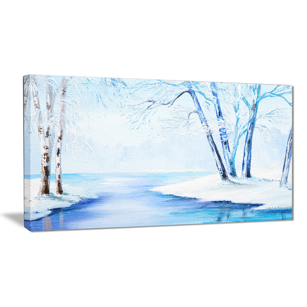 river in snowy winter landscape large canvas art PT6108