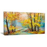 yellow falling forest landscape canvas art print PT6111