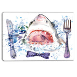 hungry shark illustration animal canvas art print PT6132