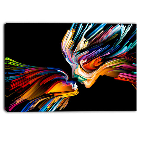 kissing minds graphic art abstract canvas art print PT6133