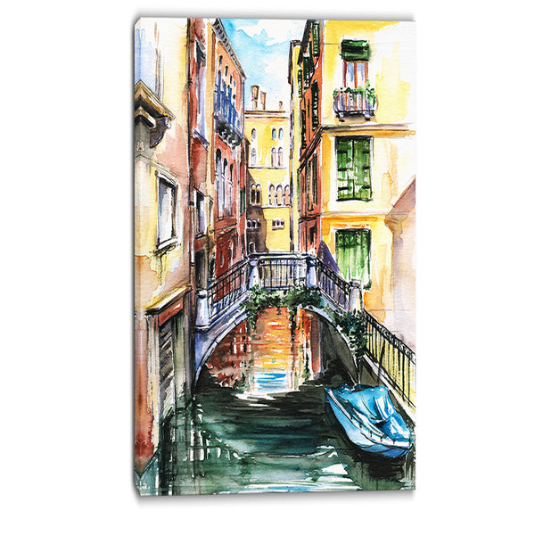venice, canal meeting bridge cityscape canvas art print PT6135