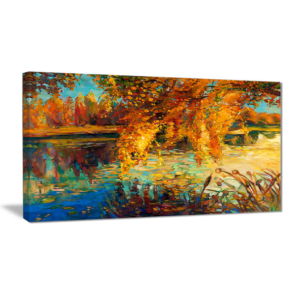 Autumn Forest and Sky Landscape Canvas Art Print