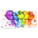 colorful parrots illustration animal canvas artwork PT6151