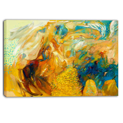 abstract yellow collage abstract large canvas print PT6156