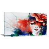 woman with rose illustration abstract canvas artwork PT6166