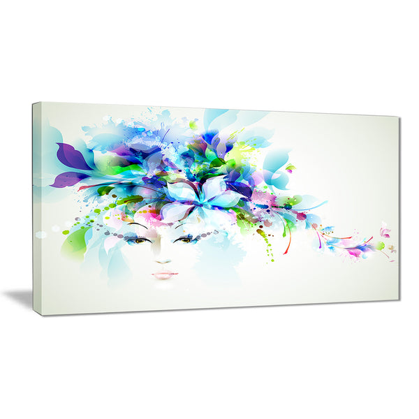 Woman with Blue Flowers Floral Canvas Art Print