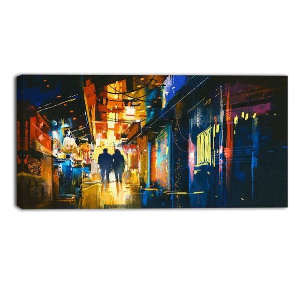 couple walking in an alley cityscape canvas artwork PT6186