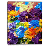 heavily textured abstract flowers abstract canvas print PT6194