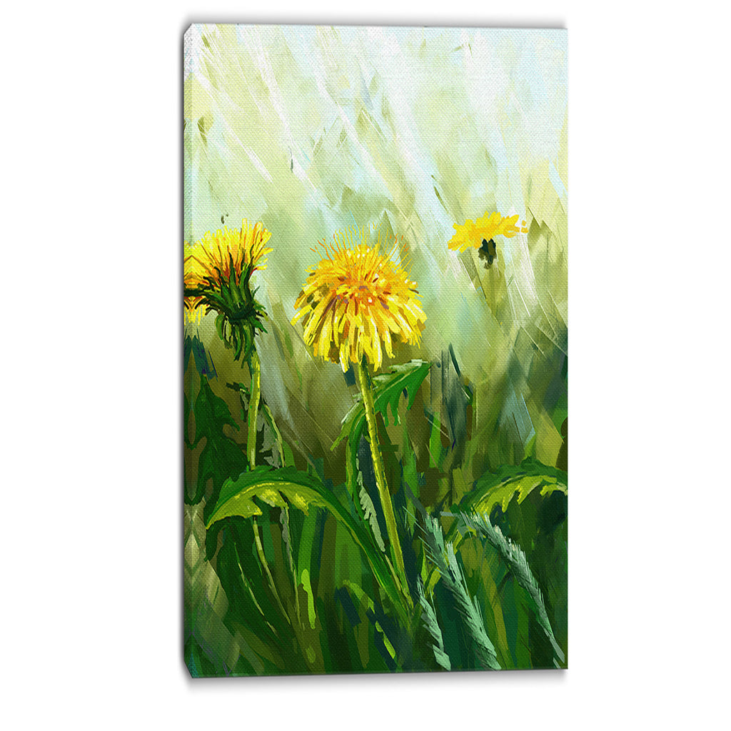 dandelion flowers floral canvas wall art