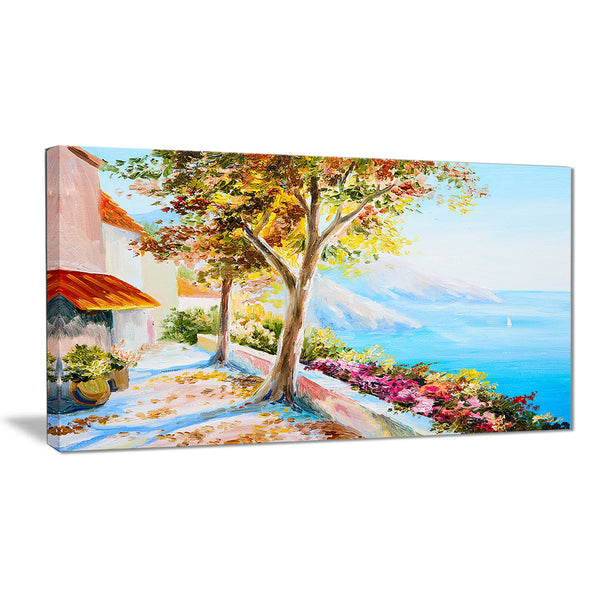 house and sea in the fall landscape canvas art print PT6210