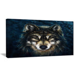 smiling wolf animal canvas wall art print PT6212