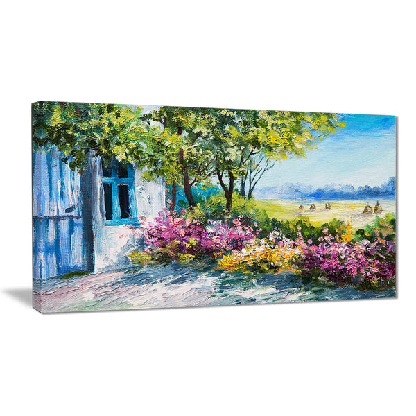 garden near the house landscape canvas art print PT6213
