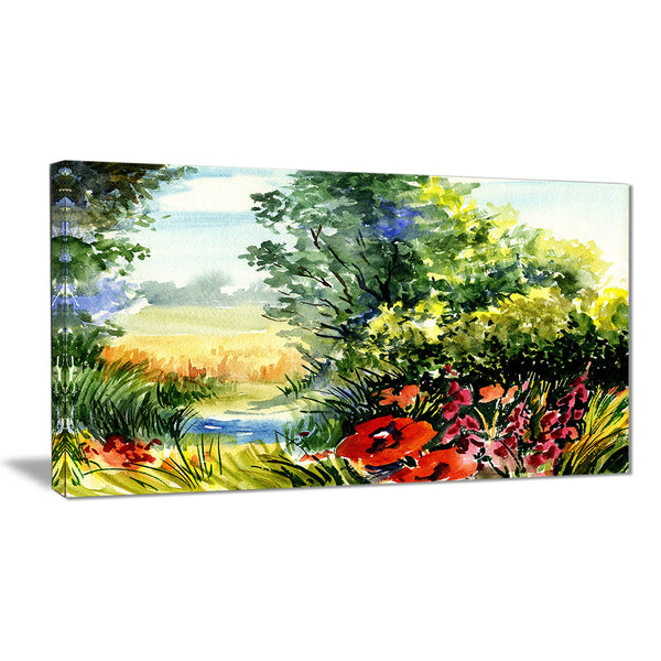 watercolor landscape with flowers landscape canvas print PT6214