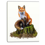 the clever fox illustration animal canvas art print PT6217