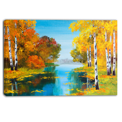 birch forest near the river landscape canvas print PT6223